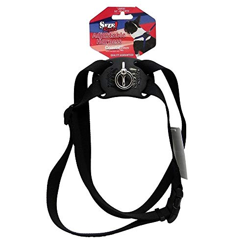 Size Right Adjustable Dog Harness | 30 to 38 Inches Girth & 1 Inch Width (Black)
