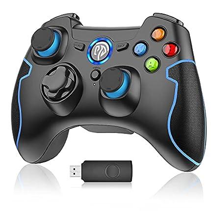 EasySMX Mando para PC, [Regalos] Mando Inalámbrico PS3 Gamepad Wireless Compatible con Windows XP y Vista, Windows 7/8/8.1/10 y 10, PS3, Android y Operación Rango hasta 10M Joystick PC (Azul)