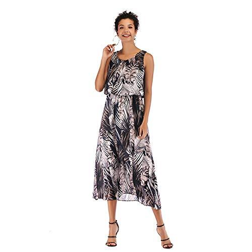 Señoras Vestido sin Mangas Atractivo del Cuello Redondo de la Gasa de Boho Beach Resort Falda Larga (Color :...