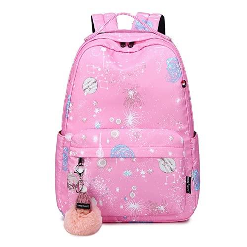 MINGPAI Mochilas de escuela primaria niñas niñas ligeras lindo campus estudiantes de escuela secundaria mochilas femeninas (7,42 * 29 * 14CM)