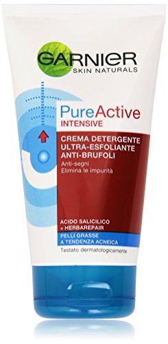 Garnier Pure Active Intensive Crema Detergente Ultra-Esfoliante Anti-Brufoli, 150 ml