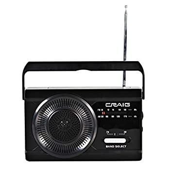 Craig CR4181 Portable Handheld AM FM Radio with Rod Antenna | Emergency Radio with Extra Long Battery Life | Headphone Jack & Speakers | AUX Port Compatible |