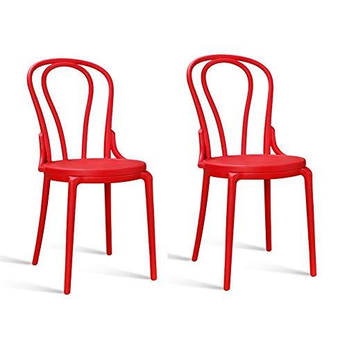 RENJUN Silla de comedor estilo retro asiento redondo plástico silla de jardín bolsa interior 2 piezas Set de silla de reunión (color: rojo)