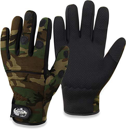 Anglerhandschuhe aus 3mm Titanium Neopren mit umklappbaren Fingerkuppen und rutschfesten Handinnenflächen - Wasser -und Winddicht [S-4XL] Farbe Woodland Größe M