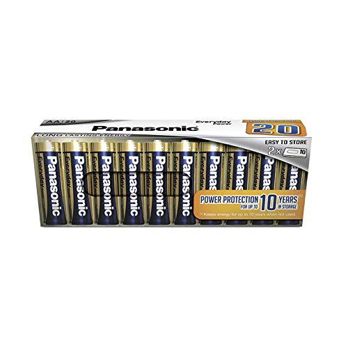 Panasonic EVERYDAY POWER Batteria alcalina, AAA Micro LR03, confezione da 20 senza plastica, per un'energia affidabile, batteria alcalina