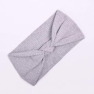 Hair band Women Turban Solid Color Hairband Girls Makeup Fabric Elastic Hair Bands Twisted Knotted Hair Accessories MJZCUICAN (Color : Grey, Size : Free)