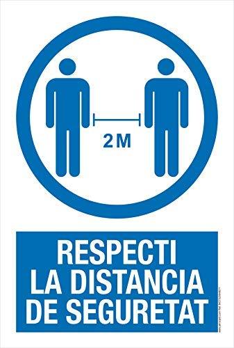Cartel resistente PVC - RESPECTI LA DISTANCIA DE SEGURETAT - Señaletica COVID 19 - Carteles para Empresas y Comercios en catalán señal covid
