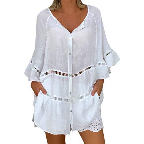 Blusa Hueca de algodón y Lino para Mujer Camiseta Botones con Cuello en V y Tallas Grandes Camisa Suelta Casual Blanco XXXXXL