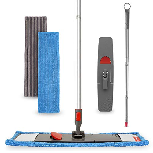 FAYINA Floor Mop Microfiber Cleaning System - Washable Scrubbing and Reusable Microfiber for Hardwood, Laminate and Tile, Dust Mop, Soft Refills for Wood, Walls, Vinyl, Kitchen