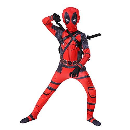 MIAOXI Disfraz De Deadpool Traje De Halloween Ropa para Niños Ropa De Cosplay De Anime Mono con Accesorios,Deadpool- 115~125cm