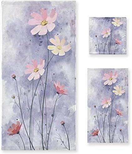 Towel Set of 3 Daisy Fresno Mall Hand Bath Splash Flower Max 53% OFF Purple