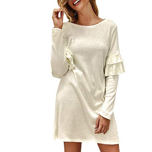 Damen Kleider Abendkleid Cocktailkleid,2019 neues Kleid Langärmliges Kleid mit Rüschen für Damen Art und Weise beiläufiges festes Damen Oansatz Lange Hülsen gekräuseltes Minikleid S-XL
