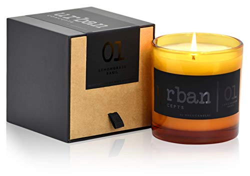 Urban Concepts by DECOCANDLES | Tranquility - Lemongrass & Wild Basil - Highly Scented Soy Candle - Long Lasting - Hand Poured in USA - Signature Scent for The Amanyara Resort Turks & Caicos - 9 Oz.