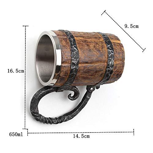 Barril de madera resina de acero inoxidable taza de cerveza 3D taza de fósforo taza taza de cerveza taza de café vidrio 650ml-650ml