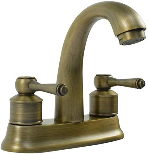 HJTLK Grifo de Cobre Puro sin Plomo, Grifo de Doble Orificio, Lavabo, lavamanos, Lavabo de baño, Grifo de Agua fría y Caliente, Comercio Exterior