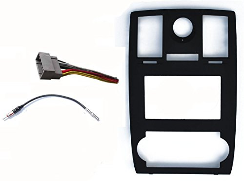 Radio Stereo Car Install Double Din Navigation Black Bezel,Harness and Antenna Adapter Fitted For Chrysler 300 2005 2006 2007