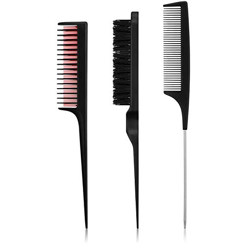 3 Pieces Hair Styling Comb Set, Includes Teasing Hair Brush Fluffy Hair Brush, Rat Tail Comb Teasing Comb and Triple Teasing Comb for Back Brushing, Combing, Slicking Hair