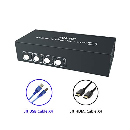 PW-SH0401P KVM Switch HDMI de 4 Puertos con 4K@60Hz Ultra HD 1080P 3D Compatible con Windows 2000/XP/Vista, Linux y Mac para PC DVR NVR Monitor Teclado Mouse