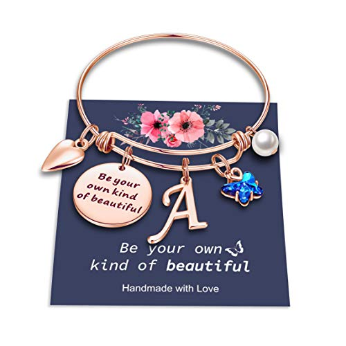 Hidepoo Butterfly Charm Bracelets for Women Girls, Stainless Steel Rose Gold Bangle Bracelet Expandable A Letter Initial Blue Crystal Charm Butterfly Bracelets for Women Girls Butterfly Gifts