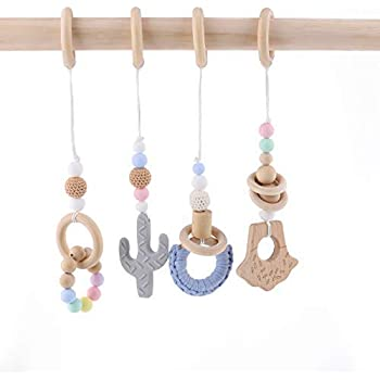 3pcs Baby Play Gym Toys Wood Ring Baby Wood Beads Chewable Rattle Silicone Teehing Baby Shower Gift Wooden Teether HAO JIE N202-1-CA