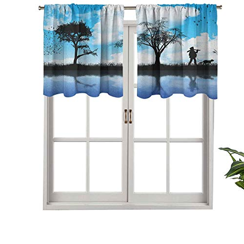 Hiiiman Small Kitchen Window Curtains Valances Man with The Dog Walking by The Lake with Tree, Set of 2, 42'x36' for Kitchen Bathroom and Cafe
