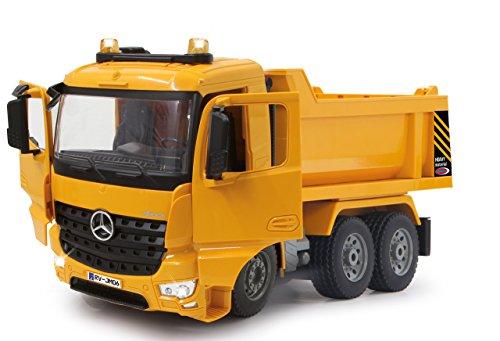 RC Auto kaufen Baufahrzeug Bild 2: Jamara 404940 - Muldenkipper Mercedes-Benz Arocs 2,4 GHz - Kippmulde hoch / runter, realistischer Motorsound, Hupe, Rückfahrwarnsound, 4 Radantrieb, gelbe LED Signallichter, programmierbare Funktionen*