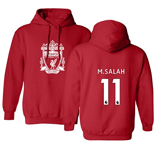 Tcamp Liverpool #11 Mohamed Salah Premier League Boys Girls Youth Hooded Sweatshirt (Red, Youth Large)