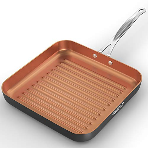cook code 10-Inch Deep Square Grill Pan Non Stick - Copper Griddle Pan for Indoor Grilling - Steak Griddle Pan Dishwasher Suitable Oven Suitable