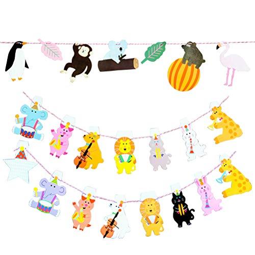 BESTOYARD Bandera de Animales de Jungla para Decoración de Fiesta de Cumpleaños Habitación del Niño y Bautizo 2pcs