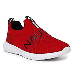 Nautica Kids Youth Athletic Fashion Sneaker Running Shoe Slip On- Boy - Girl Little Kid Big Kid-Canvey Youth-Red Solid-1