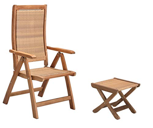 Bangkok - Juego de sillas de jardín con taburete plegable (madera de teca)