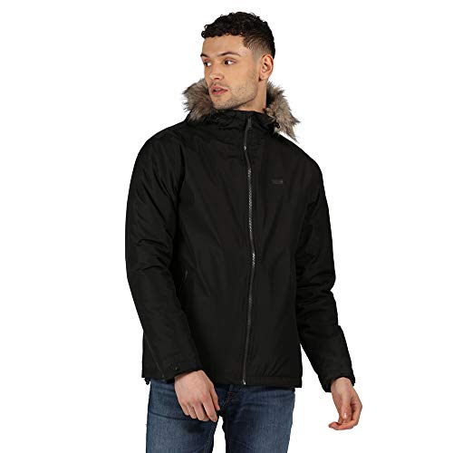 Regatta Haig Waterproof Taped Seams Insulated Polyester Lining Internal Security Pocket Hooded Jacket Chaqueta, Hombre, Negro, S