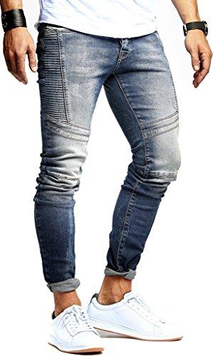 Leif Nelson Herren Jeans Hose Slim Fit Denim Blaue graue Lange Jeanshose für Männer Coole Jungen weiße Stretch Freizeithose Schwarze Cargo Chino Sommer Winter Basic LN9920BL Blau W31/L32