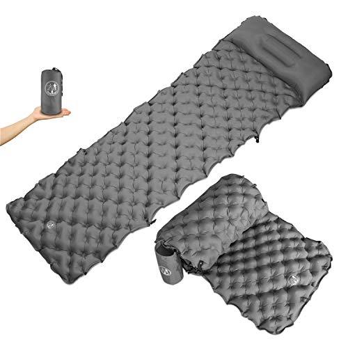 CampKnight® Isomatte und Sitzrolle 2-in-1 - Bequem Schlafen und Sitzen - Ultraleicht und Kleines Packmaß - Verstellbares Camping Kissen - Aufblasbare Isomatte Outdoor 190x58 cm