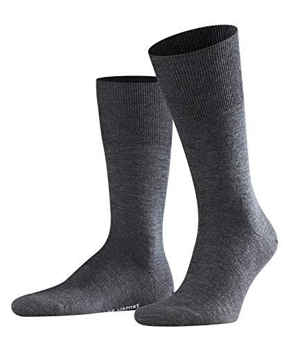 FALKE Herren Socken Airport - Merinowoll-/Baumwollmischung, 1 Paar, Grau (Asphalt Melange 3180), Größe: 41-42