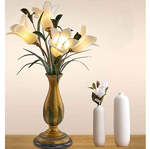 TOMSSL Lámpara de Mesa Cama de Dormitorio Creativo Estudio cálido Faros Faros Flores de jardín simulación romántica Lirio 43 * 68cm
