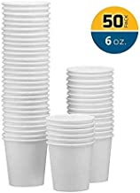 NYHI 50-Pack 6oz White Paper Disposable Cups – Hot/Cold Beverage Drinking Cup for Water, Juice, Coffee or Tea – Ideal for Water Coolers, Party, or Coffee On the Go' (6 Ounce)