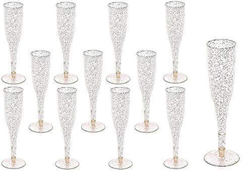 Gold Glitter Plastic Classicware Glass Like Champagne Wedding Parties Toasting Flutes 1 Box Quantity 30