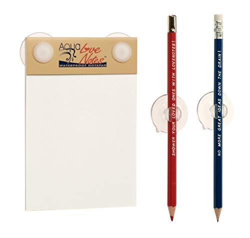 Einzigartiges Papier | Wasserabweisender Notizblock für die Dusche mit Stifthalter | Ungewöhnliches und lustiges | für Männer u. Frauen | 40 anheftbare, wasserdichte Notizzettel | Aqua Love Notes - Waterproof