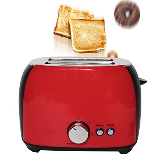 ATRISE Toast Toaster 2-Slice Compact Plastic Extra Wide Slot Stainless Steel Toaster Keep Warm Defrost Slot Toaster (Red)