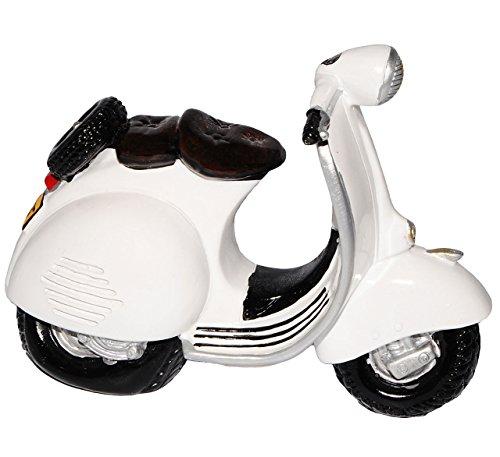 Spardose -  Roller / Motorrad - Weiss  - stabile Sparbüchse aus Kunstharz - Fahrzeug Sparschwein lustig witzig - Krad Modell / Moped - Autos / Reise - Reise..