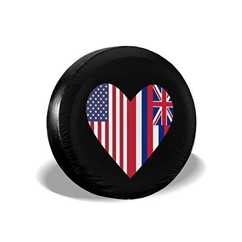 WCHAO La Mitad de la Bandera del Estado de Hawaii La Mitad de la Bandera de los Estados Unidos Love Heart Cubiertas de neumáticos Universal Fit