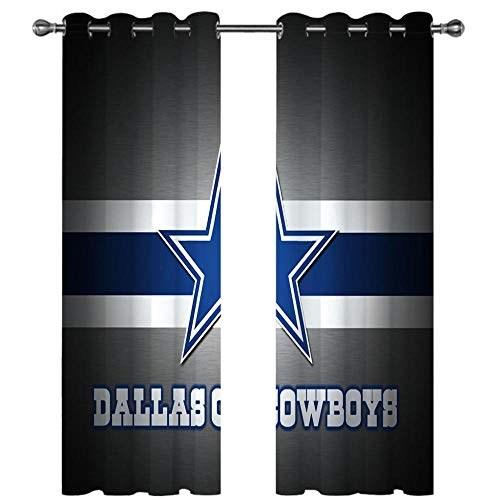 SDSONIU - Blackout Curtains for Kids - Dallas Cowboys 220X215Cm Eyelet Curtains Super Soft Thermal Insulated Suitable for Bedroom Living Dining Office Window