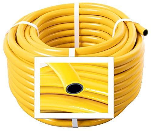 Yellow Garden Hose Pipe - 50 Metre Reinforced Anti-Kink Water Hosepipe Watering