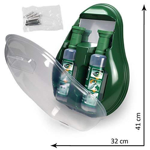 MedX5 (Upgrade 2019) Notfall Augendusche, Augenspülstation mit Spiegel, Augenspülung mit steriler Kochsalzlösung (0.9%), Augenspülmittel, Augenspüllösung, Augenspüler, Augenspülflasche