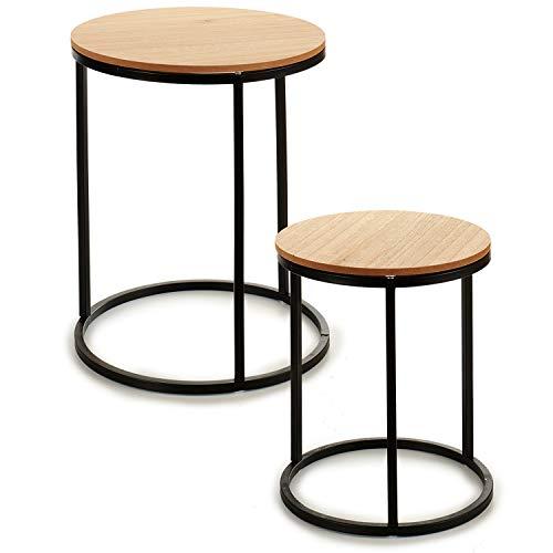 TU TENDENCIA UNICA Juego de Dos mesas con Patas metálicas y sobre de MDF Color Natural. Funcional y estética como Mesa Auxiliar, con Posibilidad de apilarlas. Medidas: 35 x 35 x 41 cm. (Negro)