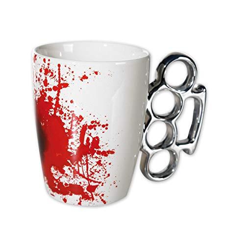 Schlagringtasse Kaffee Becher Tasse weiss mit Blut Design
