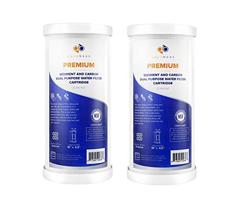 """Aquaboon Premium 5 Micron 10"""" x 4.5"""" Big Blue Sediment and Carbon Dual Purpose Water Filter Cartridge   Universal 10 inch Replacement   GXWH35F, GXWH30C, GXWH40L, WHKF-GD25BB, WFHDC3001, 2 Pack"""