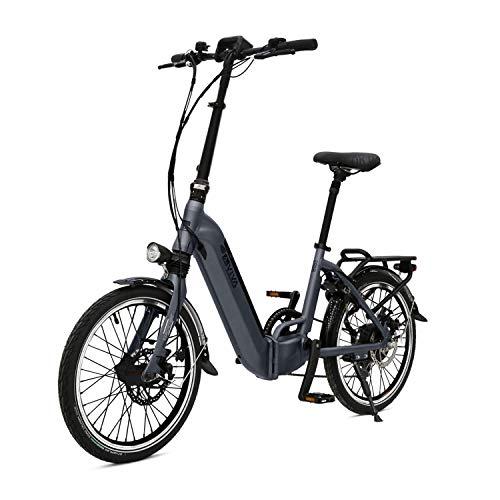 AsVIVA E-Bike B13 Stadtfalter 20 Zoll, Faltrad (14,0Ah Samsung Cell Akku), Klapprad, 7 Gang Shimano Kettenschaltung, Bafang Heckmotor, Scheibenbremsen, grau