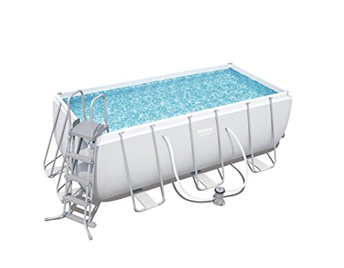 Bestway Power Steel Rectangular Swimming Pool, 8124 liters, Grey, 13.5 ft
